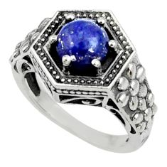 Clearance Sale- 2.59cts natural blue lapis lazuli 925 silver solitaire ring size 6 d35172