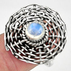 2.28cts natural rainbow moonstone 925 silver solitaire ring size 7.5 d35177