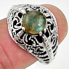 Clearance Sale- 2.46cts natural blue labradorite 925 silver solitaire ring size 7.5 d35178