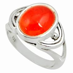 5.13cts natural cornelian (carnelian) 925 silver solitaire ring size 7 d35182