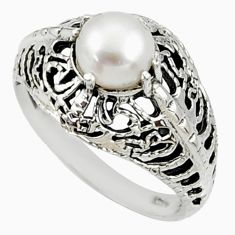 Clearance Sale- 2.32cts natural white pearl 925 sterling silver solitaire ring size 8.5 d35185