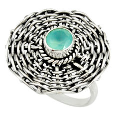 Clearance Sale- 1.17cts natural aqua chalcedony 925 silver solitaire ring size 6.5 d35191