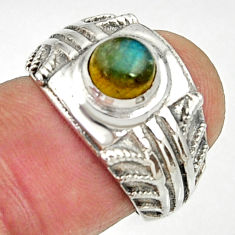 Clearance Sale- 1.05cts natural blue labradorite 925 silver solitaire ring jewelry size 6 d35194