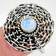 925 silver 1.10cts natural rainbow moonstone round solitaire ring size 8 d35199
