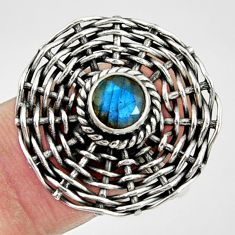 1.09cts natural blue labradorite 925 silver solitaire ring jewelry size 9 d35200