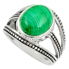 5.18cts natural green malachite oval 925 silver solitaire ring size 8.5 d35203