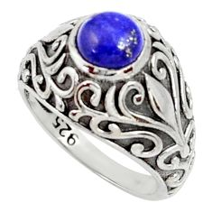 Clearance Sale- 2.59cts natural blue lapis lazuli round 925 silver solitaire ring size 7 d35205
