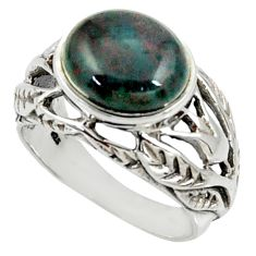5.01cts natural green bloodstone african 925 silver solitaire ring size 8 d35208
