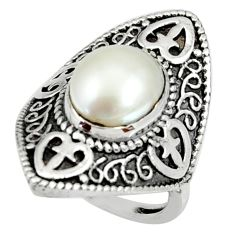 Clearance Sale- 5.51cts natural white pearl 925 sterling silver solitaire ring size 5.5 d35210