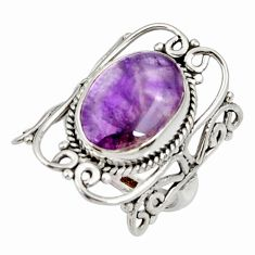 6.27cts natural purple chevron amethyst 925 silver solitaire ring size 6 d35212