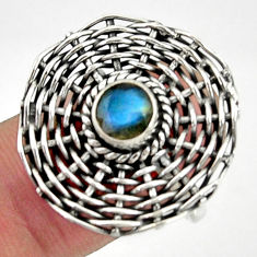 1.14cts natural blue labradorite 925 silver solitaire ring jewelry size 8 d35220
