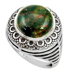 Clearance Sale- 6.78cts natural green bloodstone african 925 silver solitaire ring size 7 d35223