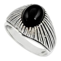3.91cts natural black onyx 925 sterling silver solitaire ring size 8.5 d35233