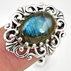 Clearance Sale- 6.89cts natural blue labradorite 925 silver solitaire ring size 8.5 d35237