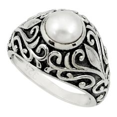 Clearance Sale- 2.59cts natural white pearl 925 sterling silver solitaire ring size 7 d35241