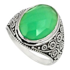 Clearance Sale- 6.31cts natural green chalcedony 925 silver solitaire ring jewelry size 6 d35243