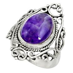 6.31cts natural purple chevron amethyst 925 silver solitaire ring size 8 d35245