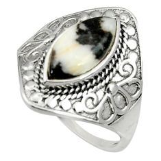 Clearance Sale- 6.31cts natural white zebra jasper 925 silver solitaire ring size 9 d35246