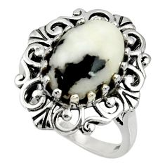 Clearance Sale- 925 silver 7.21cts natural white zebra jasper solitaire ring size 9 d35247