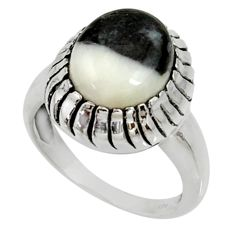Clearance Sale- 5.21cts natural white zebra jasper 925 silver solitaire ring size 7 d35254