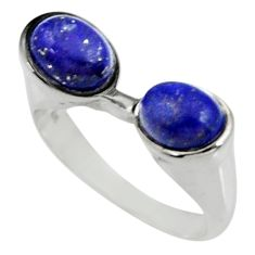 4.32cts natural blue lapis lazuli 925 sterling silver ring jewelry size 9 d35263