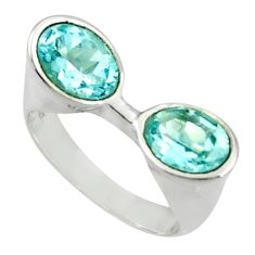 Clearance Sale- 925 sterling silver 4.38cts natural blue topaz oval ring jewelry size 7 d35264