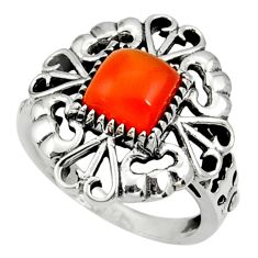 Clearance Sale- 2.85cts natural orange cornelian 925 silver solitaire ring size 7 d35270