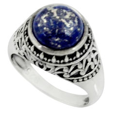 Clearance Sale- 5.50cts natural blue lapis lazuli 925 silver solitaire ring size 8 d35272