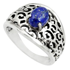 Clearance Sale- 2.19cts natural blue lapis lazuli 925 silver solitaire ring size 8 d35275