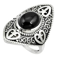 925 sterling silver 4.73cts natural black onyx solitaire ring size 6.5 d35276
