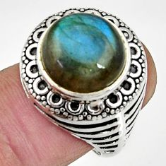 Clearance Sale- 6.57cts natural blue labradorite 925 silver solitaire ring size 7.5 d35278