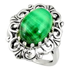 6.76cts natural green malachite oval 925 silver solitaire ring size 8 d35282
