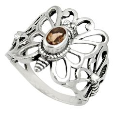 Clearance Sale- 1.05cts brown smoky topaz 925 silver butterfly solitaire ring size 9 d35286