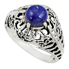 Clearance Sale- 2.34cts natural blue lapis lazuli 925 silver solitaire ring size 7.5 d35288