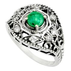 Clearance Sale- 2.35cts natural green emerald topaz 925 silver solitaire ring size 7 d35290