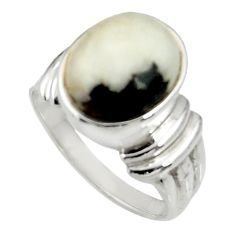 Clearance Sale- 5.30cts natural white zebra jasper 925 silver solitaire ring size 7.5 d35296