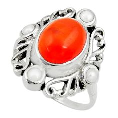 6.31cts natural orange cornelian pearl 925 silver solitaire ring size 9 d35299