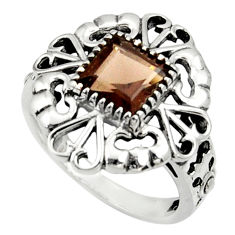 Clearance Sale- 2.85cts brown smoky topaz 925 sterling silver solitaire ring size 8 d35308