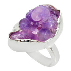 925 silver 10.25cts natural grape chalcedony solitaire ring size 7.5 d35329