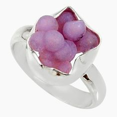 5.23cts natural purple grape chalcedony silver solitaire ring size 6.5 d35330