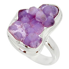 Clearance Sale- 11.19cts natural grape chalcedony 925 silver solitaire ring size 7.5 d35331