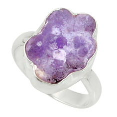 Clearance Sale- 10.31cts natural purple grape chalcedony 925 silver solitaire ring size 8 d35332