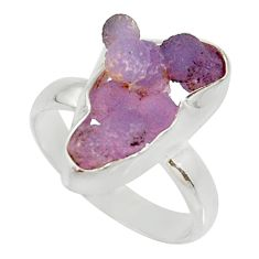 7.97cts natural purple grape chalcedony 925 silver solitaire ring size 8 d35336