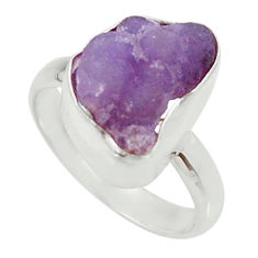 Clearance Sale- 925 silver 8.05cts natural grape chalcedony fancy solitaire ring size 8.5 d35338
