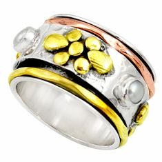 1.57cts victorian natural pearl 925 silver two tone spinner ring size 8 d35341