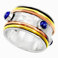 Clearance Sale- Victorian natural blue lapis lazuli silver two tone spinner ring size 8.5 d35343