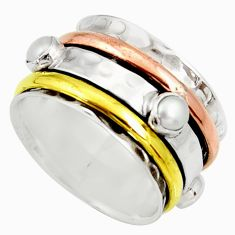 925 silver 1.94cts victorian natural pearl two tone spinner ring size 8.5 d35345