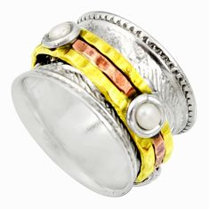 2.50cts victorian natural pearl 925 silver two tone spinner ring size 6 d35347