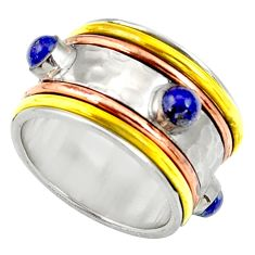 Clearance Sale- Victorian natural lapis lazuli 925 silver two tone spinner ring size 6.5 d35348