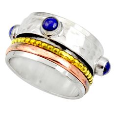 Victorian natural lapis lazuli 925 silver two tone spinner ring size 9 d35349